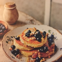 Almond Pancakes with caramelised banana and walnuts